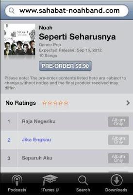 """10 (sepuluh) Lagu-Lagu Album Perdana Noah """"Seperti Seharusnya"""" di iTunes Store"""