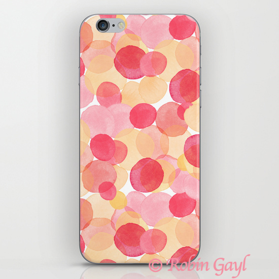 Abstract watercolor circles pattern, red, pink, yellow, orange, phone case, artist phone case, designer phone case