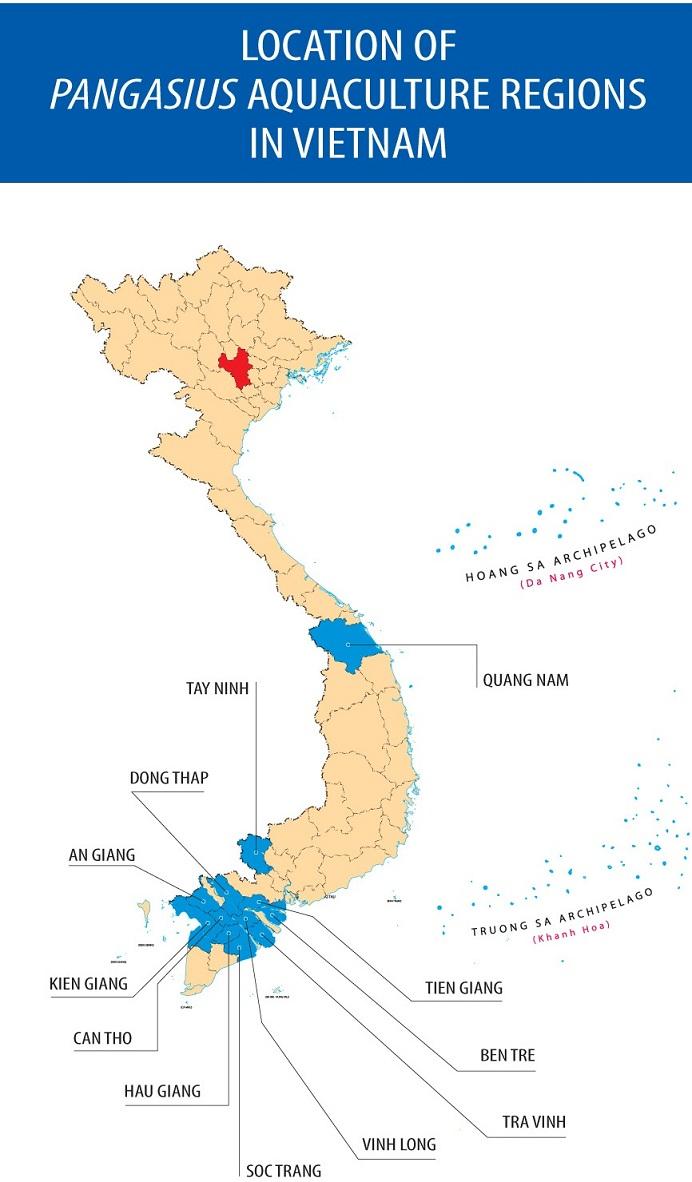 map of pangasius aquaculture regions in vietnam