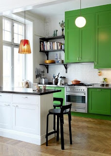 Grass Green Kitchen Cabinets
