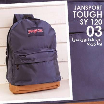 jual online tas ransel jansport kanvas polos warna biru dongker harga murah