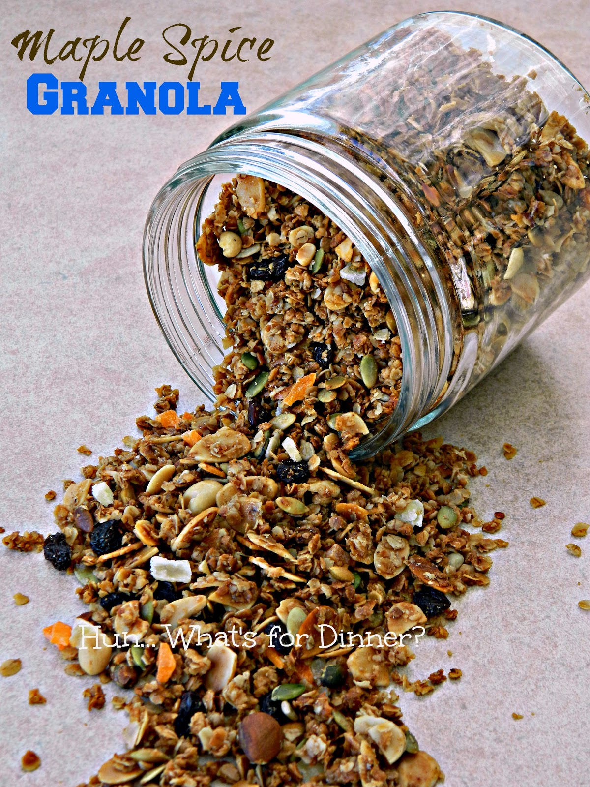 Maple Spice Granola- Oats become deliciously crunchy when baked in a mixture of maple syrup, spices, dried fruit and nuts.