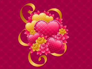 Corazones rosados y dorados