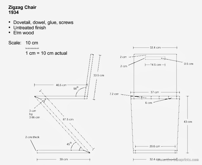 Building gerrit rietveld november 2013 for Silla zig zag planos