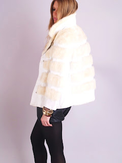 Vintage 1960's mod white mink mini swing coat with snap front closure and huge collar.