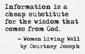 """Information is a cheap substitute for the wisdom that comes from God."""