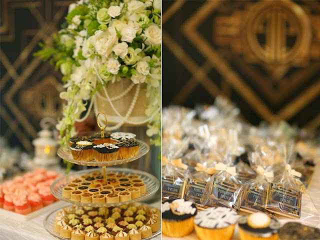 Great Gatsby Themed Wedding Dessert Table Photo