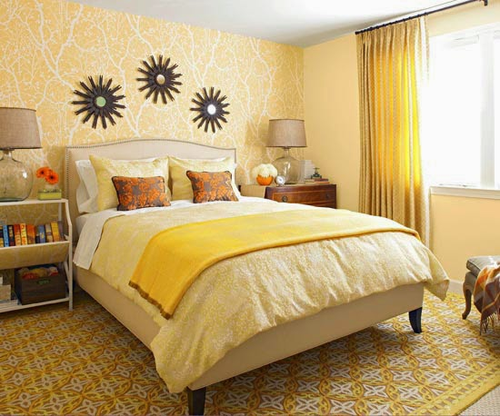 Kleuradvies Slaapkamer Groen : Decorating Bedroom with Yellow Color