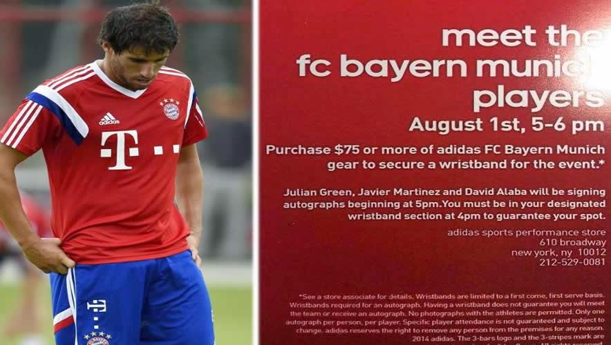 adidas cobra por el autógrafo de los jugadores del Bayern Munich en EEUU