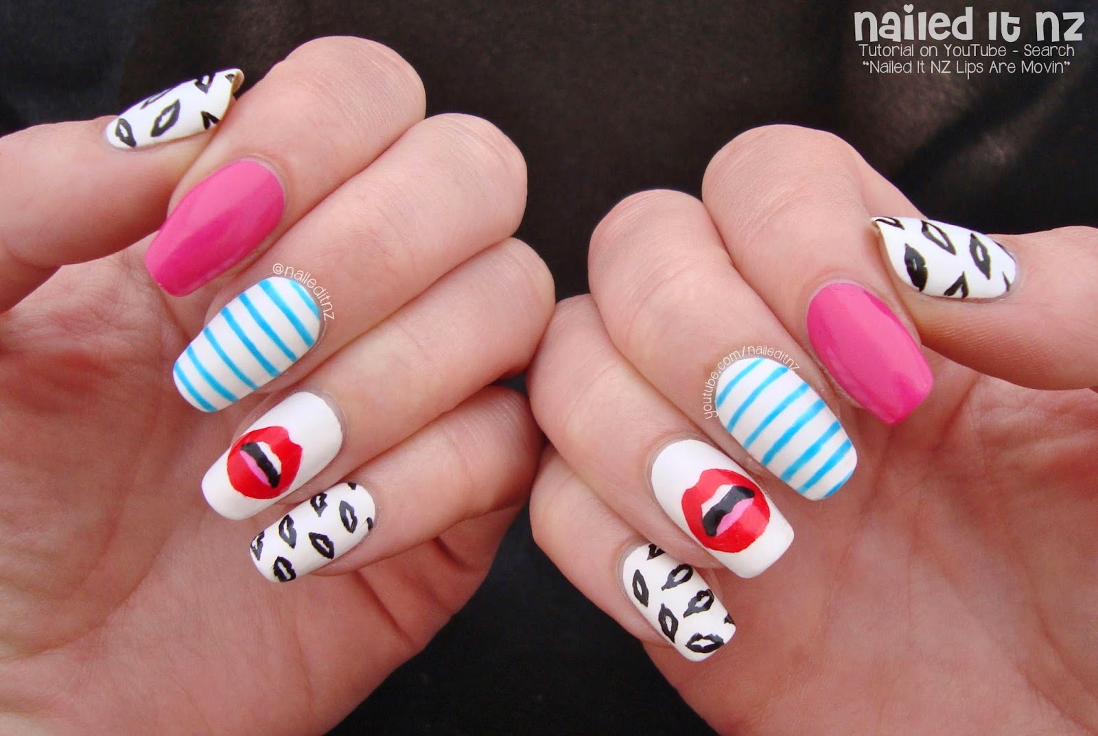 Meghan Trainor Lips Are Movin Nail Art Tutorial