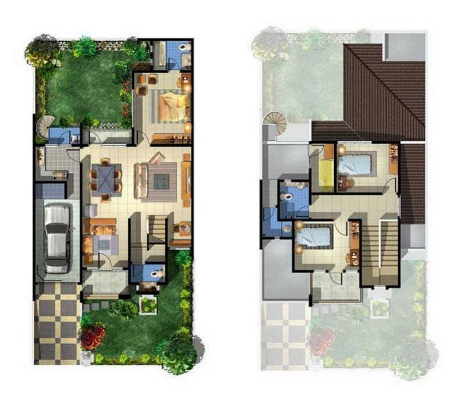 gambar denah rumah type 100 terbaru