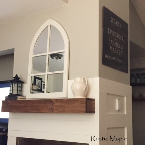 Faux Beam Mantel, Board and Batten, and Shiplap Fireplace Wall
