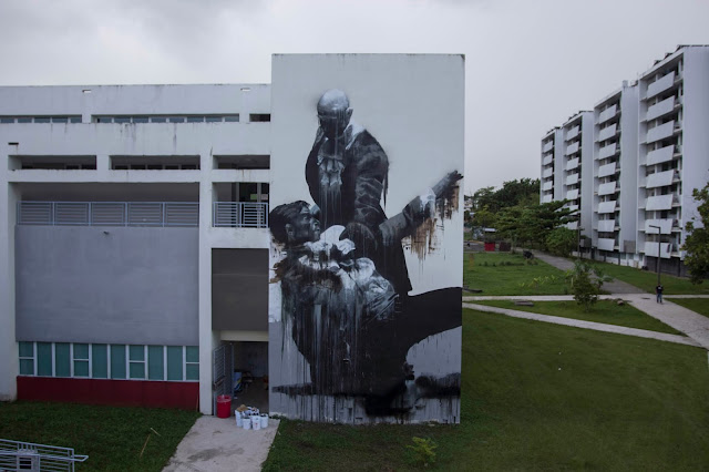"""San Juan Fight Club"" New Street Art By Conor Harrington In Puerto Rico For Los Muros Hablan 2013. 2"