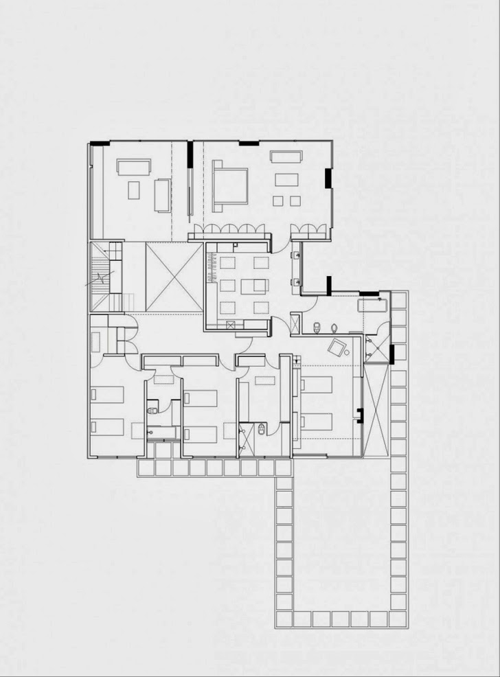 Second floor plan of Modern dream home by Paz Arquitectura