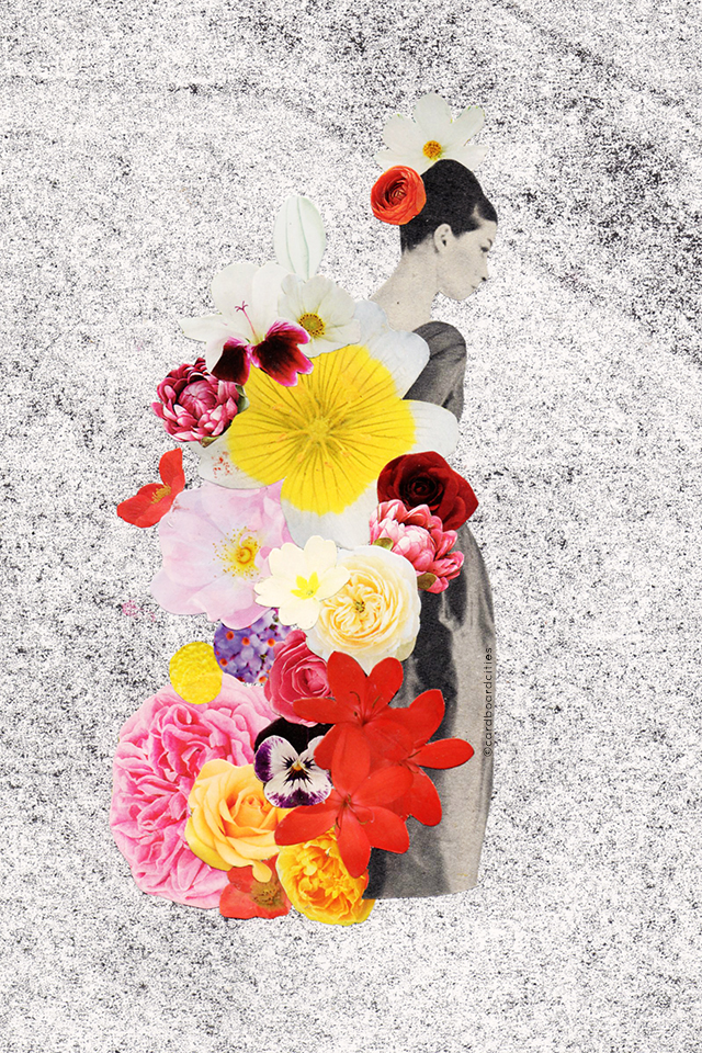 collage with vintage black and white woman with flowers on grainy monoprint background