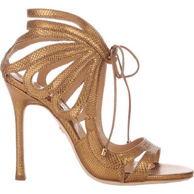 sandalia dourada alta