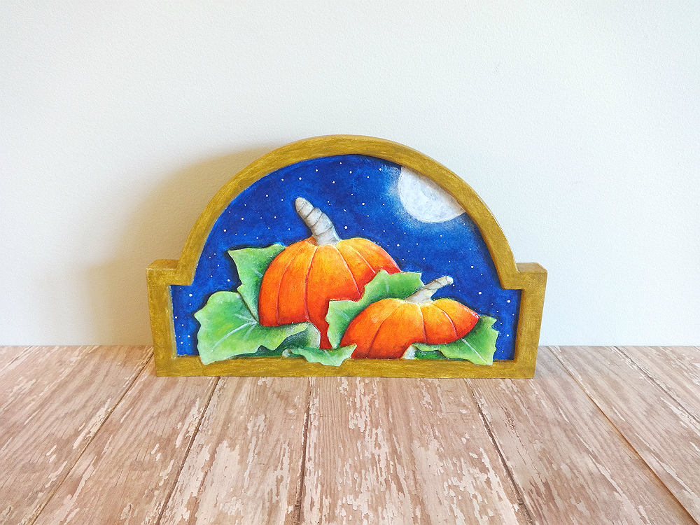 Inside starry nights studio pumpkin patch wood relief carving