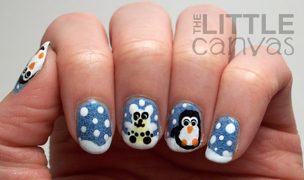 polar bear and penguin nail art