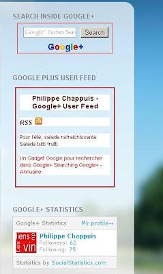 Gadgets Blogger pour Google+