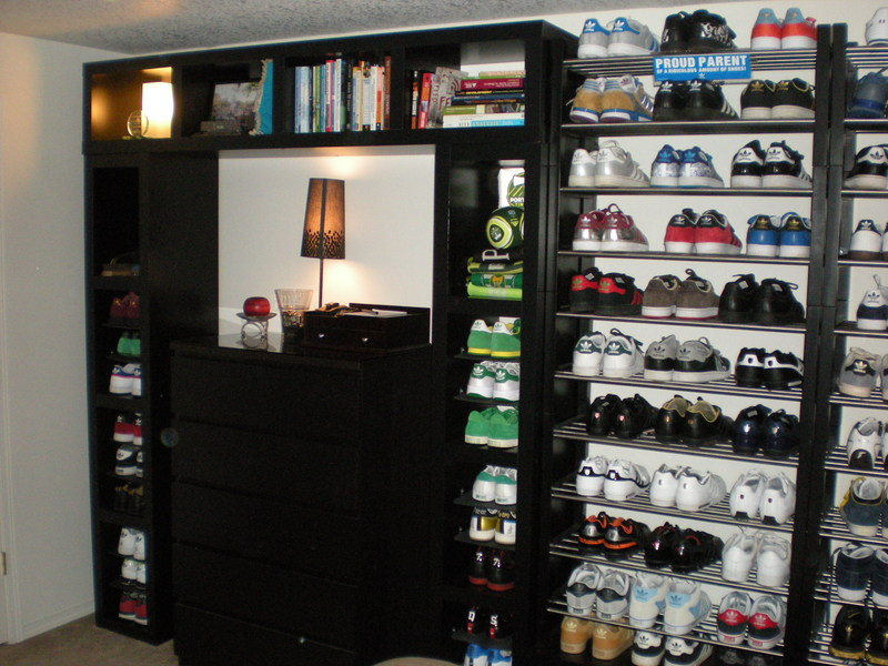 Lack wall of shoe shelves and storage for Sneaker wall display