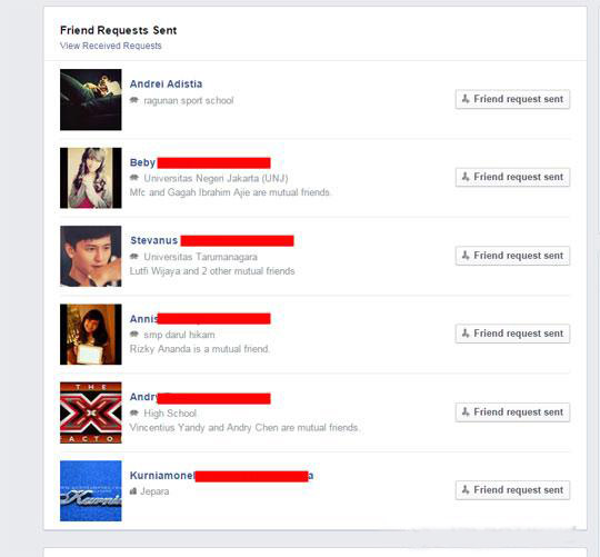 friend request list