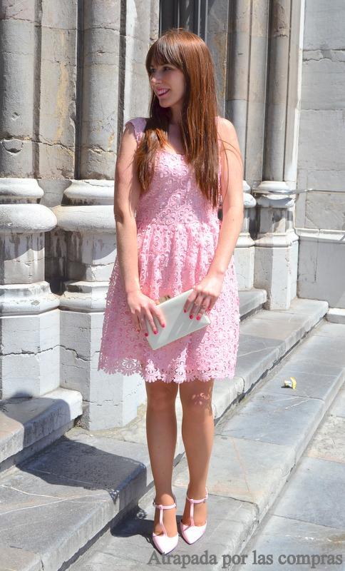 Zapatos para vestido rosa y blanco