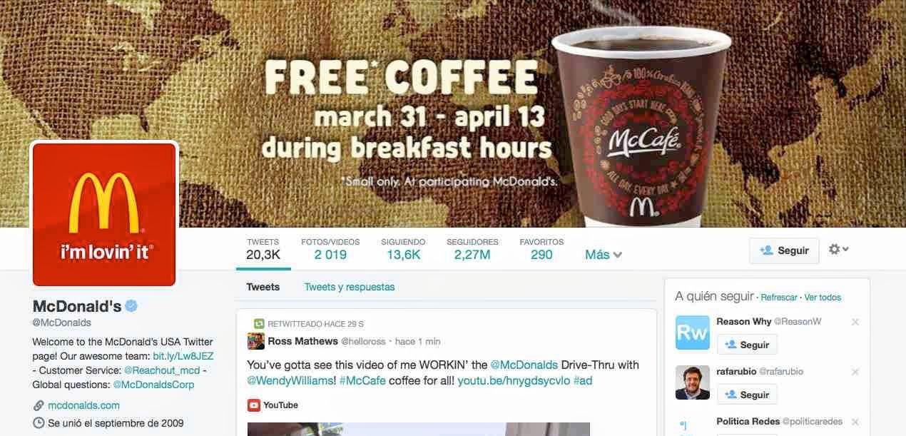 McDonalds - Nuevo diseño Twitter