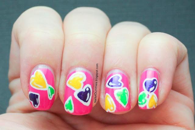 Nails4Dummies - Random Hearts Mani