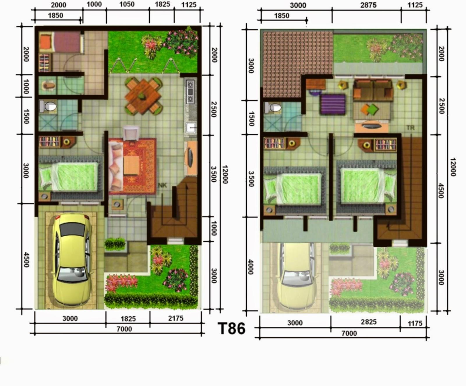 denah dan desain rumah type 45 3