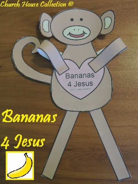 Bananas 4 Jesus Monkey Craft For Valentine's Day for Sunday School ...