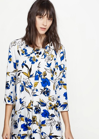 Mango 2015 Elbise Modelleri  çiçekli, mavi beyaz elbise,yazlık elbise mango şık model