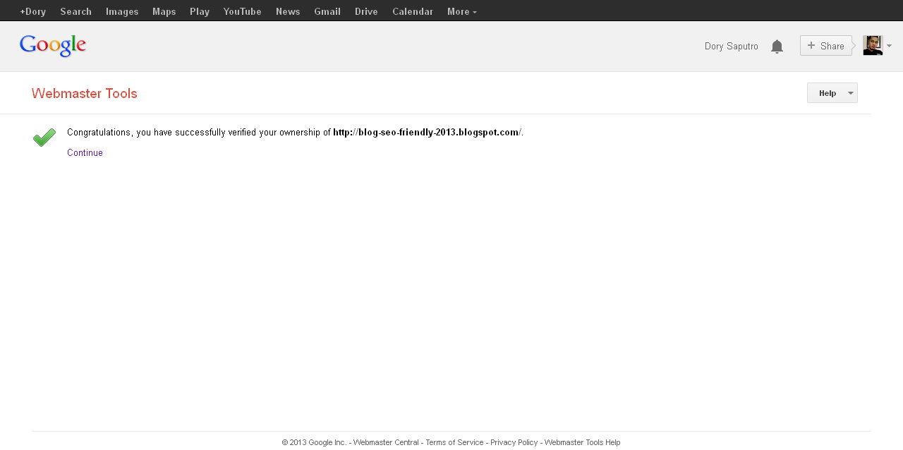 Image webmaster tools confirmation sucseed