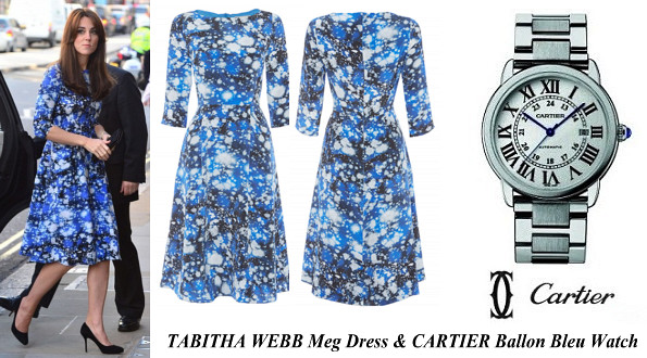 Duchess Of Cambridge's TABITHA WEBB Meg Dress and CARTIER Ballon Bleu Watch