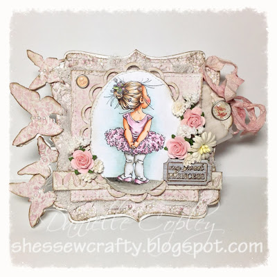 Pink Vintage shaped card using Mo's Digital Pencil Lil Ballerina, paper flowers Maja Design papers and Prima embellishments