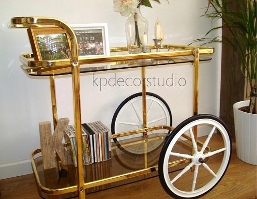 Kp tienda vintage online camarera dorada antigua for Ruedas industriales antiguas para muebles