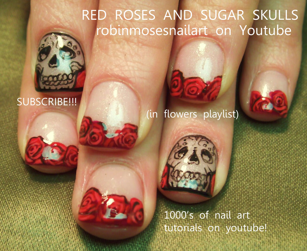 border outline nails sugar skulls with fren… - Robin Moses Nail Art: Outline/border Nails, Outline Nails, Border