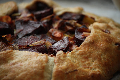 Beet, Leek and Goat Cheese Galette