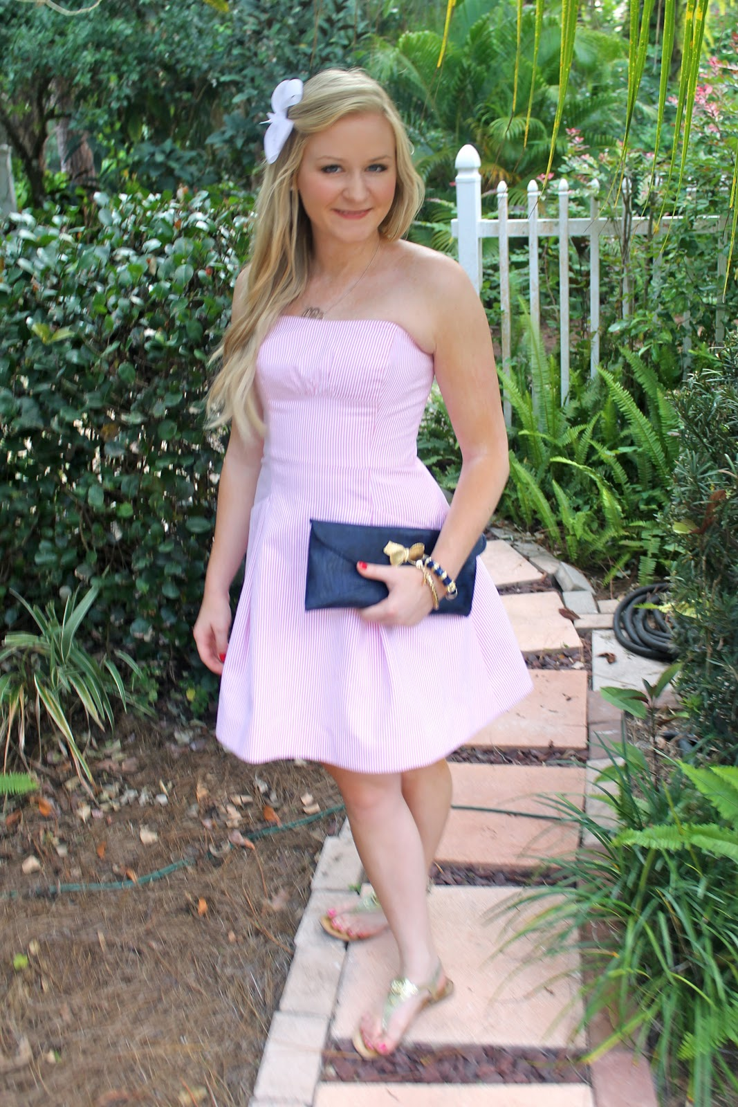 Pale Pink &amp Navy Outfit of the Day - Devon Alana