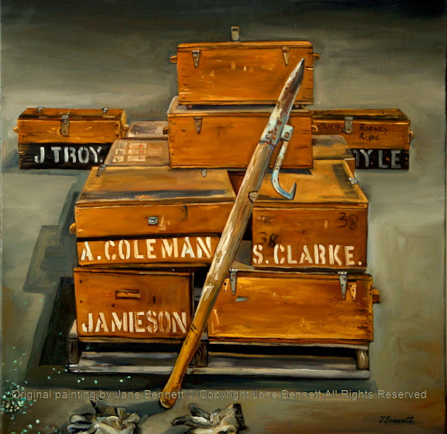 oil painting of tally boxes at the Hungry Mile, now Barangaroo by artist Jane Bennett