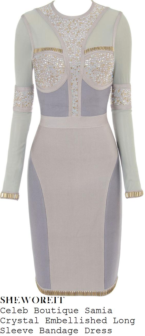 karis-anderson-stooshe-light-grey-crystal-diamante-bead-embellished-sheer-mesh-long-sleeve-bandage-dress