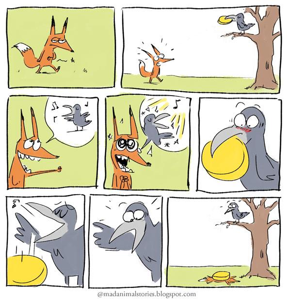 une fin surprenante pour le renard et le corbeau