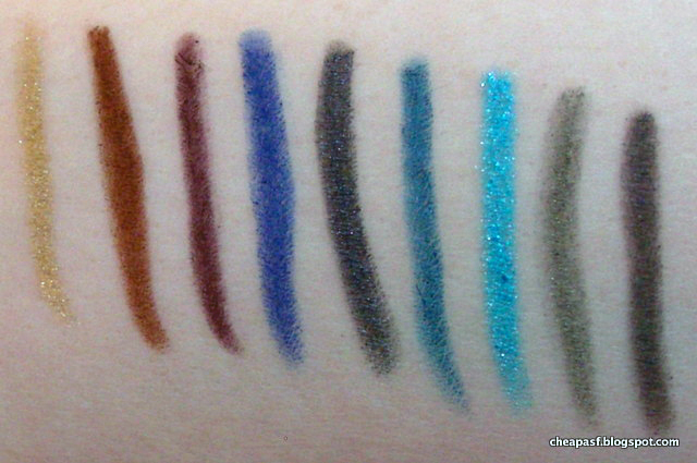 Swatches (left to right) of: ULTA Automatic Eye Liner in Golden Eyes (wearing it in this post) Avon Glow Eye-liner in Copper Paradise Jordana Easyliner in Eggplant ULTA Smokey Eyes Automatic Eye Liner in Cobalt (wearing it in this post) Stila Smudge Stick in Blue Ribbon ULTA Automatic Eye Liner in Teal Blue Essence Long-Lasting Eye Pencil in Tu-Tu-Turquoise Milani Liquif'Eye in Green NYX Retractable Eye Liner in Gray
