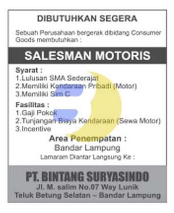 Loker Lampung, senin 26 Januari 2015 di PT. Bintang Suryasindo