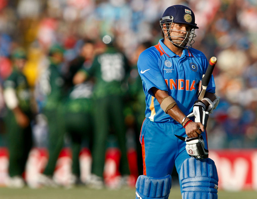 world cup 2011 images of sachin. Sachin Tendulkar walks back