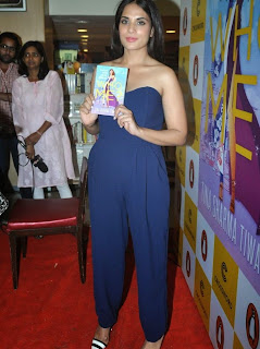 Richa Chadda in blue short dress at Launch of Book Who Me