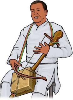 マセンコを演奏する男性のイラスト エチオピア