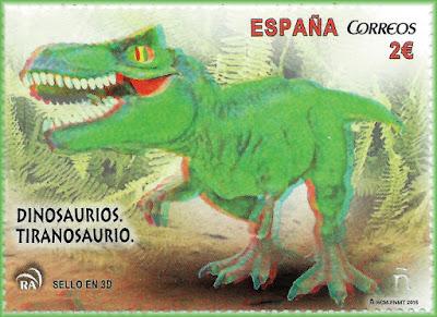 Tiranosaurio , sello, filatelia, dinosaurio