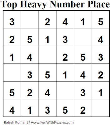 Top Heavy Number Place (Mini Puzzles Series #31) Solution