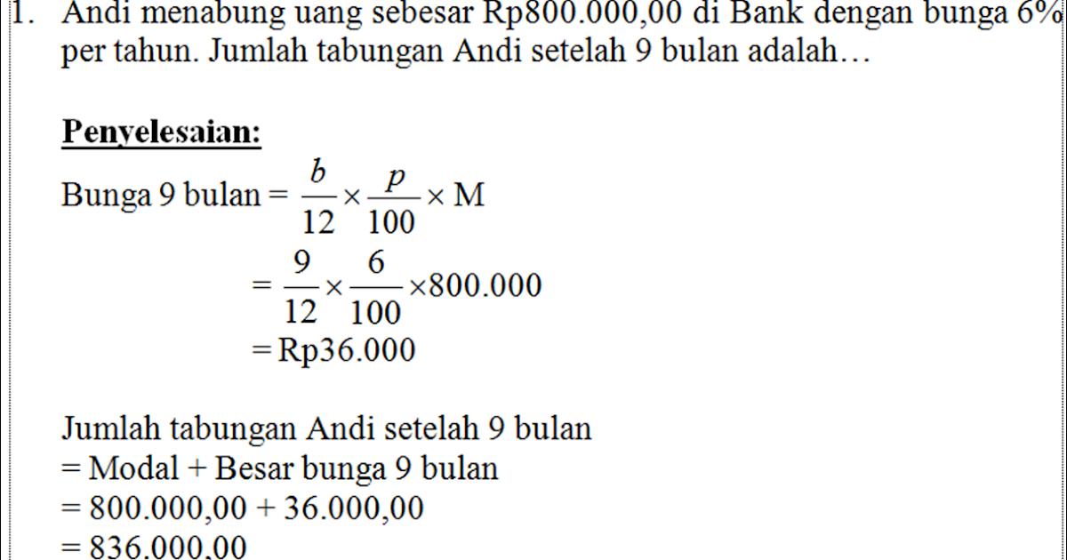 Blog Ilmu Matematika Skl 1 Un Smp 2015 Perbankan Atau Koperasi Dalam Aritmetika Sosial Oleh