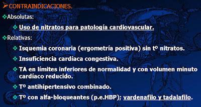 Contraindicaciones del tratamiento con inhibidores PDE5